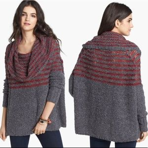 Free People Engineer Stripe Cowl Neck Pullover